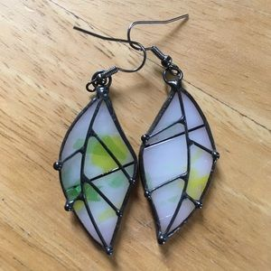 Stained Glass Leaf Earrings